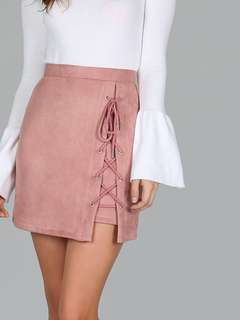 Dusty Pink Lace Up Skirt #h&m50