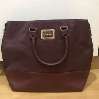 Jessica Simpson travel handbag maroon