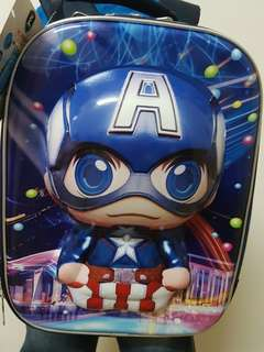 #kayaraya Captain America waterproof bag with 6 wheels trolley for kid 40cm x 19cm x 29cm