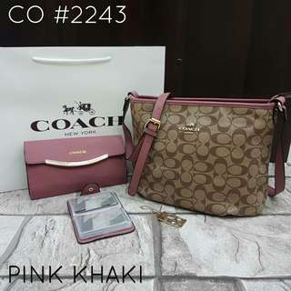 Coach Sling Bag 2 in 1 with Card Holder Pink