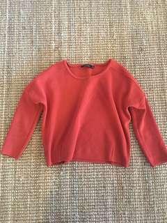 Cropped burnt orange knit jumper