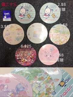 Sanrio 大圓形 非賣品 貼紙 (大賞 pochacco 肉桂狗)