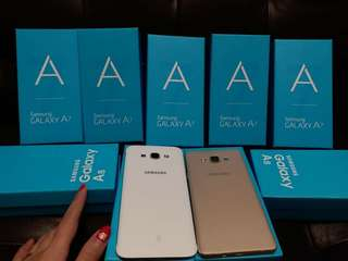 New Samsung A5 (2015) $1000 New Samsung A7 (2015) $1200 New Samsung A8 (2015) $1350 free headset Bluetooth and case  warranty 1years
