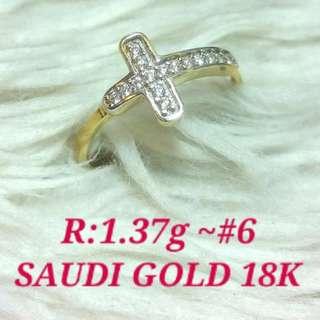 WOMEN'S RING 18K SAUDI GOLD ,,,