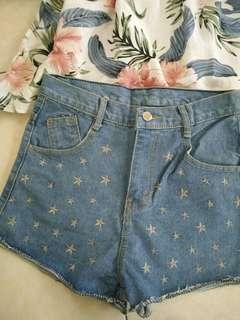星星刺繡 個性款 牛仔短褲