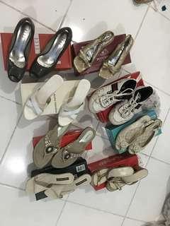 Sepatu sendal heels wedges kulit kets loak kan untuk di sol