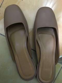 REPRICED - Taupe Flat Mules