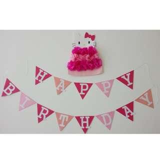Hand-Made Hello Kitty Birthday Bunting Garland
