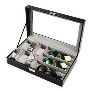 Leather watch gLasses storage box