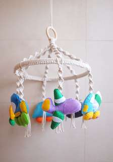Vehicle-Themed Macrame Baby Cot Mobile