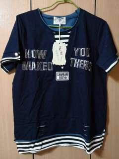 🚚 韓國采漾假兩件式短袖上衣
