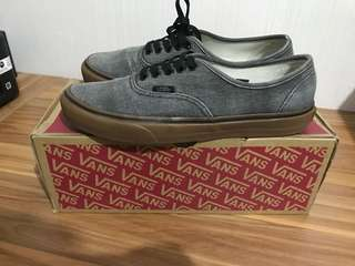 sepatu vans authentic washed canvas black/gum
