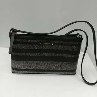 NEW Kate Spade Millie Grove Street Leather Crossbody Bag - Black Stripes