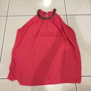 pink neck top