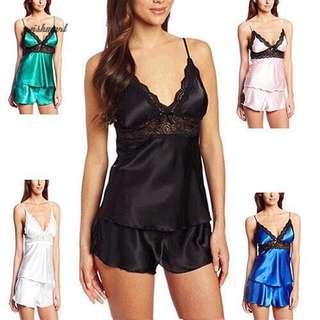 Sexy Lace Sleepwear Nighties Silk Satin