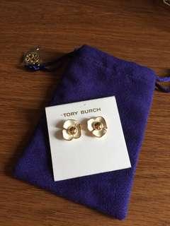 Tory Burch 金邊白色花 耳環 Flower earrings 正貨