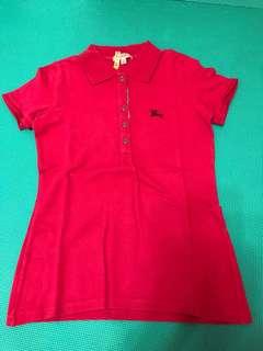 🚚 BURBERRY桃紅短袖 Polo 衫