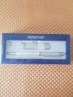 Swarovski Crystalline 4GB USB + Pen Set (White)