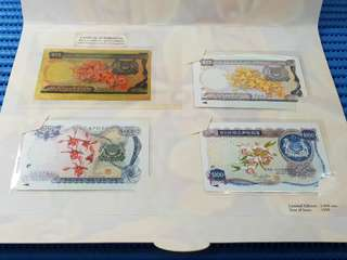 1999 Singapore Mint's Singapore Orchid Series 23K Gold Foil $25 Replica Banknote & 3-in-1 SMRT Tickets ( Singapore Orchid Series $25, $100 & $1000 Replica Banknote Cards )