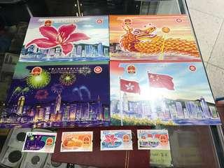 香港發行,國慶50周年,明信片、郵票共售