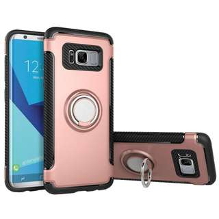 🚚 864.Samsung Galaxy S8 Case with Ring Holder/Kickstand, Bestsky Silicone Plastic Dual Layer Shockproof Hard Back Cover Skin Phone Accessories for Samsung Galaxy S8, Rose Gold