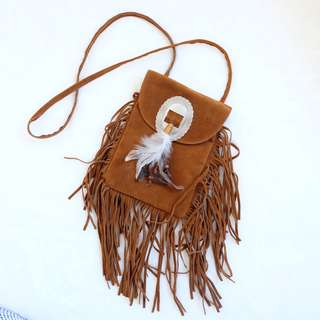Boho suede brown sling bag