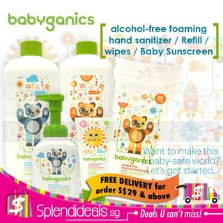 Babyganics Alcohol-Free foaming hand sanitizer / refill / wipes / baby sunscreen