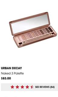 Urban Decay Naked 3 eyeshadow pallete (AUTHENTIC)