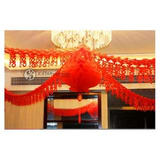 S138511 婚慶用品 新房 裝飾 喜字 拉花 婚房佈置 裝飾用品 婚房裝飾拉喜3M  Wedding supplies
