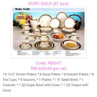 47pcs Giacomo High Tea Set  Ruby Gold