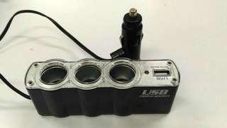 車用雙USB電源+三孔擴充電源組