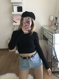 Misguided black crop top
