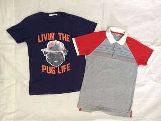 Lot of 2 shirts for boys: Uniqlo and Justees for 8-10y