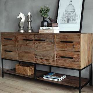 TVS004, PO GSS Promotion! - Retro/ Vintage/ Loft / Industrial Solid Wood TV Console, Multilevels Cabinets, Storage Cabinets