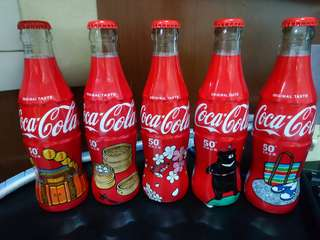Coca Cola Taiwan 50th Anniversary (Glass wrapped bottle set).