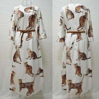 Cat Print midi Dress