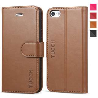868. TUCCH iPhone SE Wallet Case, iPhone 5s Case, Premium PU Leather Flip Folio Case with Card Slot, Stand Holder and Magnetic Closure [TPU Shockproof Interior Protective Case] for iPhone 5s, Brown