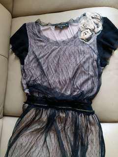 Lace黑色拼肉色長裙 party dress