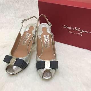 🚚 二手正品 Ferragamo 銀白蝴蝶結高跟鞋 6.5號。星采精品。
