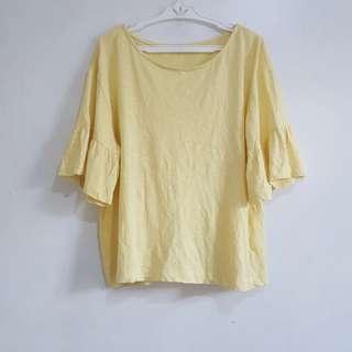 ZARA yellow top w/ bell sleeves