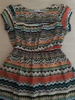 Jellybean aztec print dress (with sleeves)
