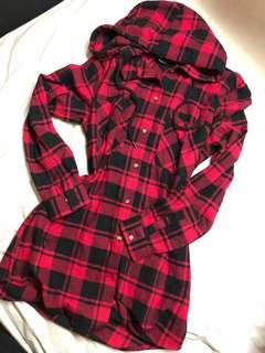 Checkered Hoodie Dress/Long Jumper