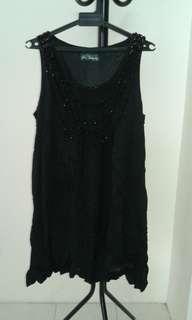 La Femme Midi Black Dress