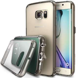 870. Galaxy S6 Edge Case, Ringke [FUSION] Dust Free Cap & Drop Protection Premium Crystal Clear Shock Absorption Bumper Hard Case with Free Back Film for Samsung Galaxy S6 Edge - Smoke Black