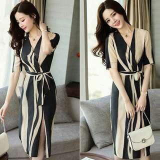 🍃Graphic Formal Waisted Belt Dress