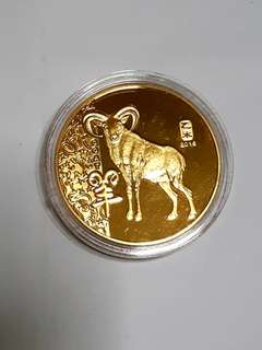 Singapore Mint 24K Gold Plated Prosperity Goat Year 2015 Medallion Coin