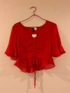 Discounted!!!! BRAND NEW H&M orangey red sheer top