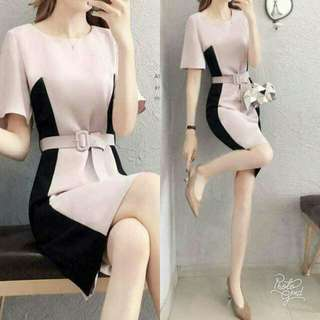 🍃Pink and Black Office Belted Dress