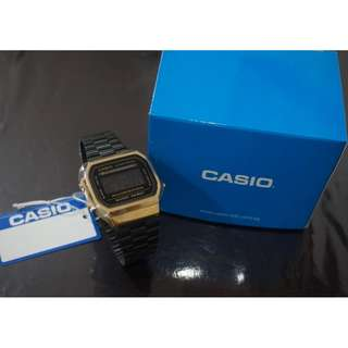 Casio Vintage Limited Edition Black and Gold Stainless Steel Watch