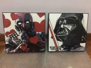 Dead pool & Darth Vader artist design wall display